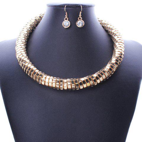 Fashion A Suit of Stylish Chain Statement Necklace and Earrings For Women