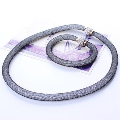 Discount A Suit of Stylish Rhinestone Knitted Necklace and Bracelet For Women