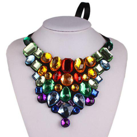 Shop Chunky Faux Crystal Statement Necklace COLORMIX