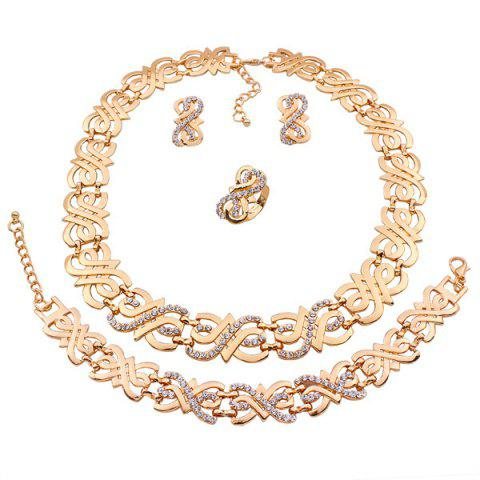 Hot A Suit of Stylish Rhinestone Note Necklace Bracelet Ring and Earrings For Women