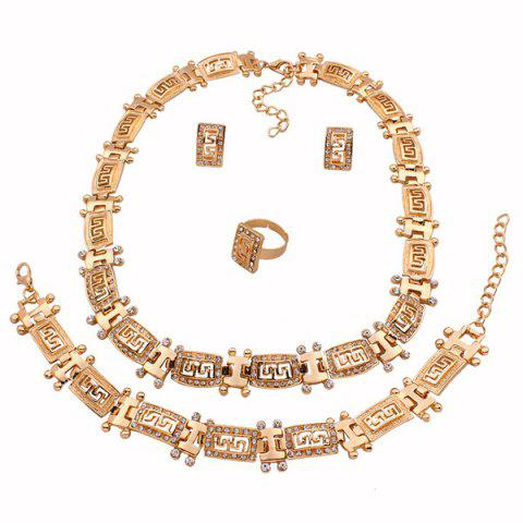 Discount A Suit of Stylish Hollowed Fret Necklace Bracelet Ring and Earrings For Women