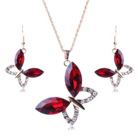 Outfits A Suit of Stylish Faux Gem Butterfly Necklace and Earrings For Women