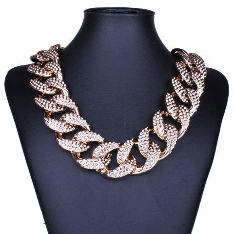 Outfit Etched Cuban Chain Statement Necklace GOLDEN
