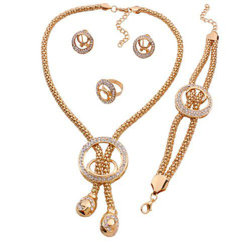 Discount A Suit of Stylish Rhinestone Circle Lariat Necklace Bracelet Ring and Earrings For Women