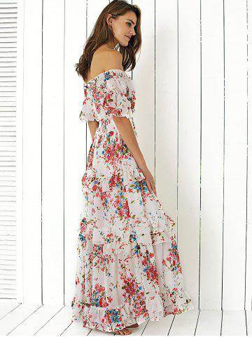 Outfits Boho Off Shoulder Floral Long Flounce Dress for Wedding - L WHITE Mobile