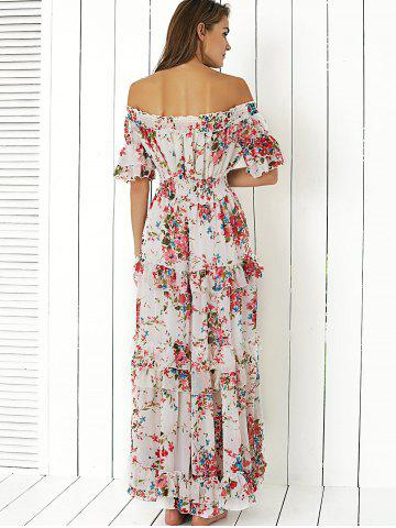 Fancy Boho Off Shoulder Floral Long Flounce Dress for Wedding - L WHITE Mobile