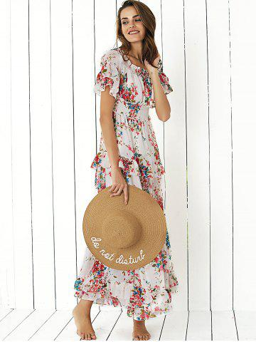 Latest Boho Off Shoulder Floral Long Flounce Dress for Wedding - L WHITE Mobile
