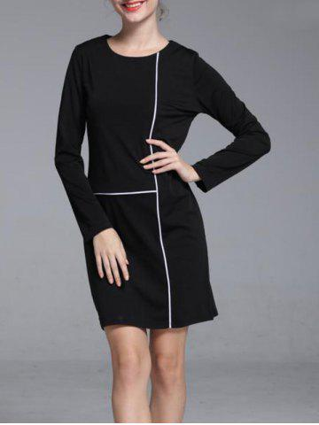 Fancy Graceful Contrast Trim Round Neck Long Sleeve Shift Dress For Women BLACK XL
