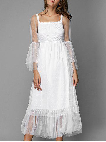 Online Long Sleeve Casual Tulle Overlay Dress WHITE XL