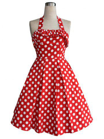Hot Vintage Halter Flounce Bowknot Back Cut Out Polka Dot Dress For Women
