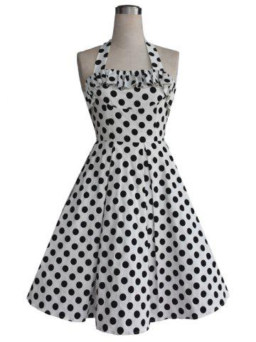 Affordable Vintage Halter Flounce Bowknot Back Cut Out Polka Dot Dress For Women