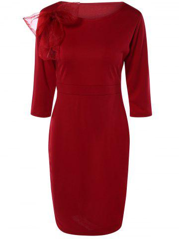 Chic Chic Bowknot Embellished Solid Color Skinny Women's Dress RED 3XL