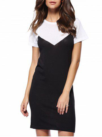 Store Trendy Round Neck Color Block Spliced Women's Dress