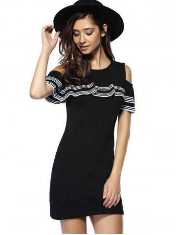 Hot Charming Cut Out Striped Flounce Women's Dress - ONE SIZE BLACK Mobile