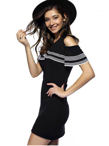 Best Charming Cut Out Striped Flounce Women's Dress - ONE SIZE BLACK Mobile