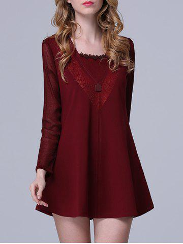 Cheap Chic Rhinestone Embellished Pocket Design Women's Dress DEEP RED 4XL