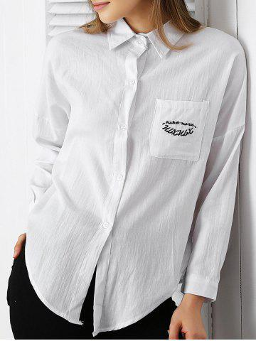 Store Chic Shirt Collar Embroidered Pocket Design Women's Shirt