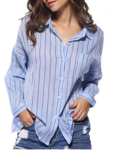 Buy Chic Buttoned Pocket Design Striped Women's Shirt LIGHT BLUE ONE SIZE