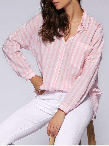 Hot Trendy Loose-Fitting Pocket Design Striped Women's Shirt