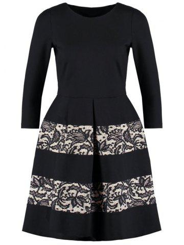 Online Retro Three Quarter Sleeve Jacquard Fit and Flare Dress