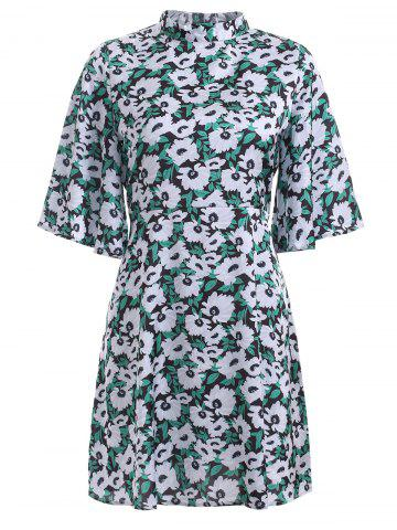 Fashion Sweet Bell Sleeve Floral Print Stand Collar Flare Dress