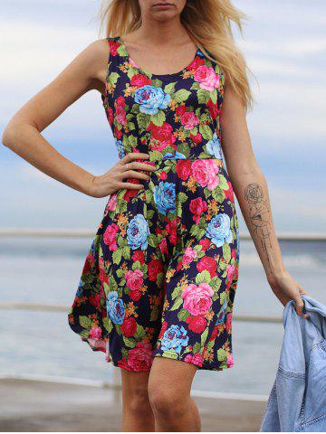 Shop Fresh U Neck Sleeveless Floral Printed Dress