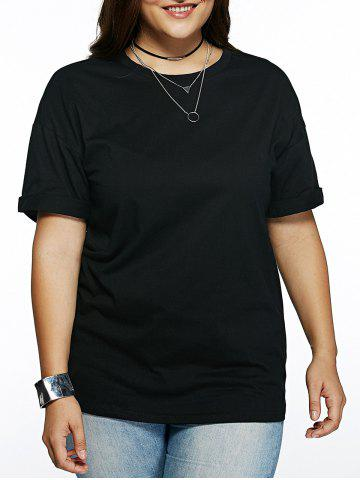 Outfit Plus Size Cuffed Sleeve Black T-Shirt