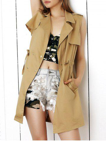 Latest Stylish Sleeveless Waisted Drawstring Coat
