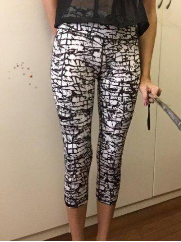 Affordable High-Waisted Gym Patterned Cropped Pants WHITE AND BLACK XL