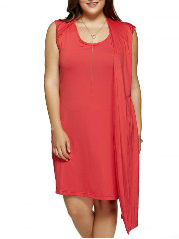Buy Plus Size One-Side Overlay Cocktail Dress RED 5XL