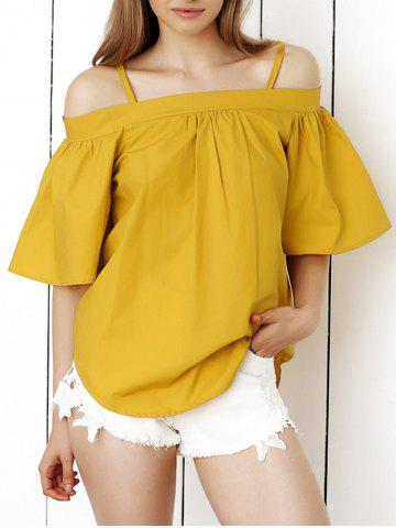 Chic Cold Shoulder Flare Sleeve Blouse