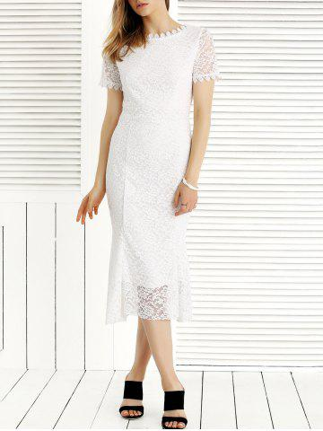 Trendy Charming Guipure Solid Color Lace Dress