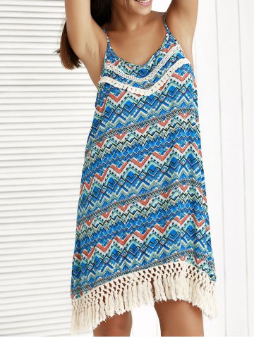 Buy Ethnic Print Tassel Summer Cami Dress BLUE M