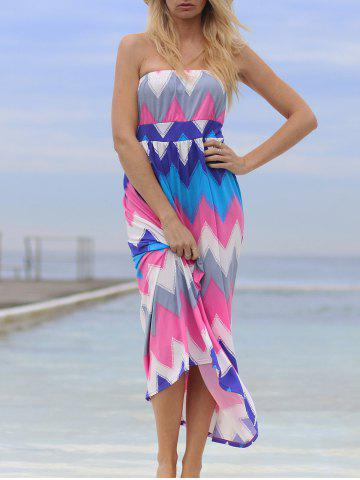 Discount Chic Strapless Colorful Zigzag Dress For Women