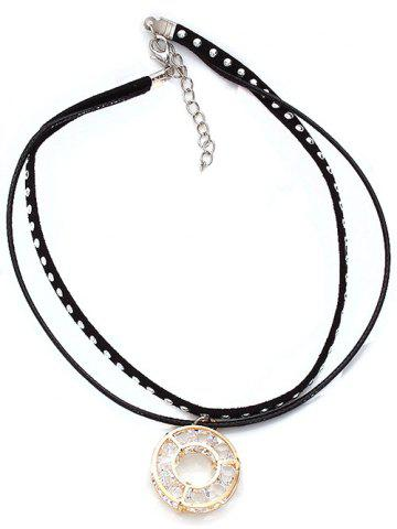 Best Layered Faux Suede Rivet Circle Choker Necklace