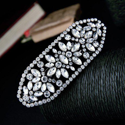 Fancy Stylish Silver Plated Rhinestone Cut Out Floral Barrette For Women