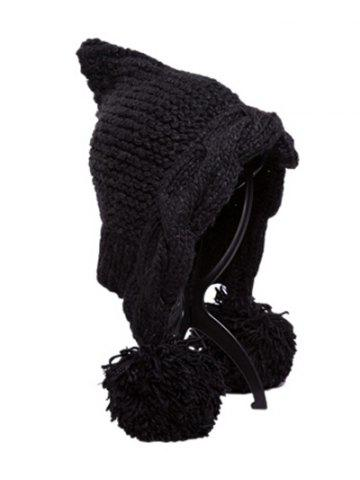 Store Stylish Ball Embellished Faux Wool Hat - BLACK  Mobile