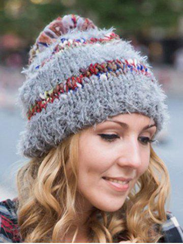 Sale Stylish Ball Decorated Winter Knitted Hat - GRAY  Mobile