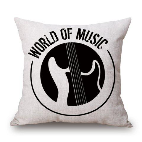 Latest World of Music Print Linen Sofa Bedding Pillow Case WHITE/BLACK