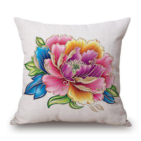 Chinese Style Peony Flower Linen Cushion Cover Pillow Case - WHITE