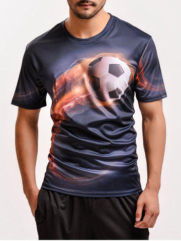 Outfit Fashion 3D Football Print Round Neck Short Sleeve T-Shirt For Men BLACK 3XL