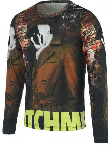 Cheap 3D Ghost Printed Round Neck Long Sleeve T-Shirt For Men COLORMIX L