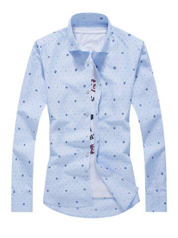 Trendy Tiny Polka Dot Print Turn-Down Collar Long Sleeve Shirt For Men