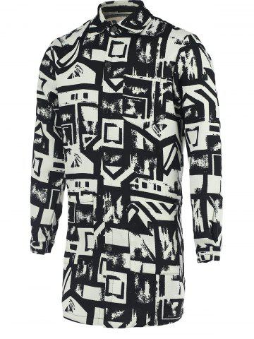 Outfit Chic Geometric Print Turn-Down Collar Black and White Coat For Men