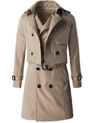 Sale Trendy Double Breast Belted Trench Coat Twinset For Men KHAKI 3XL