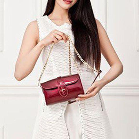 Latest Stylish Buckle and Chain Design Crossbody Bag For Women - RED  Mobile