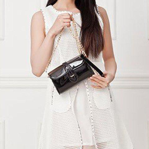 New Stylish Buckle and Chain Design Crossbody Bag For Women - BLACK  Mobile