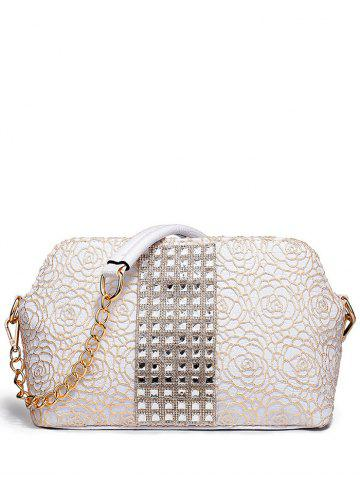 Cheap Graceful Lace and Rhinestones Design Shoulder Bag For Women - CHAMPAGNE  Mobile