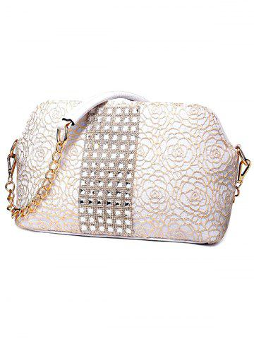 Sale Graceful Lace and Rhinestones Design Shoulder Bag For Women - CHAMPAGNE  Mobile