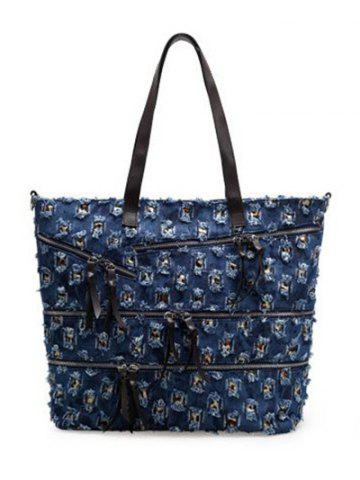 Sale Leisure Denim and Holes Design Shoulder Bag For Women